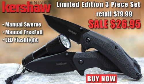 Kershaw 3 Piece FreeFall, Swerve, and LED Flashlight Combo Set