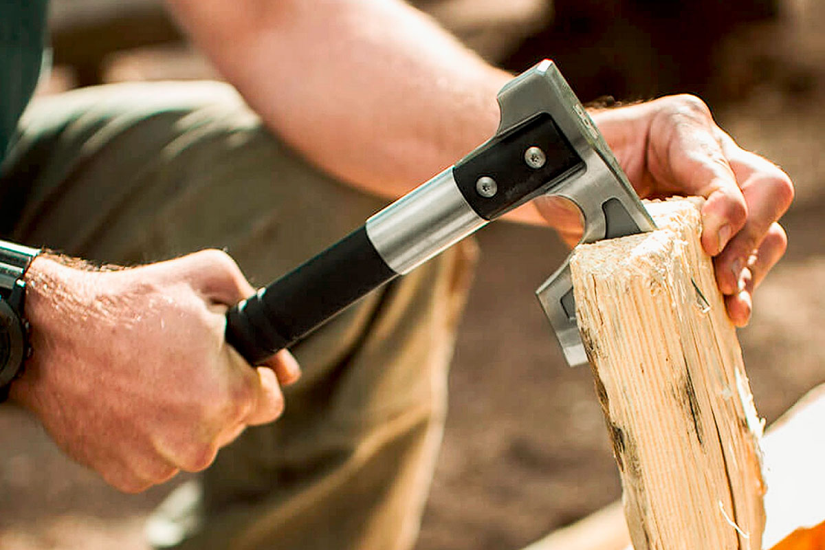 SOG Camp Axe Splitting Wood