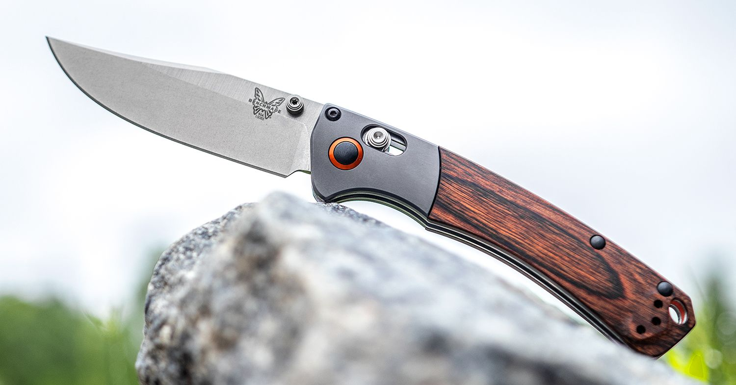Benchmade Crooked River Knife Balanced On A Rock