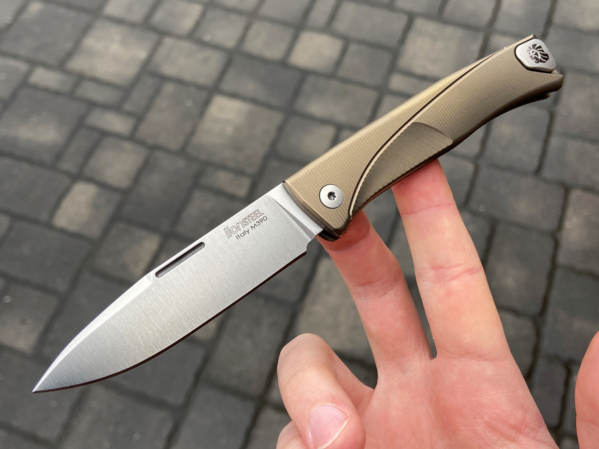 LionSteel Thrill Knife held in hand