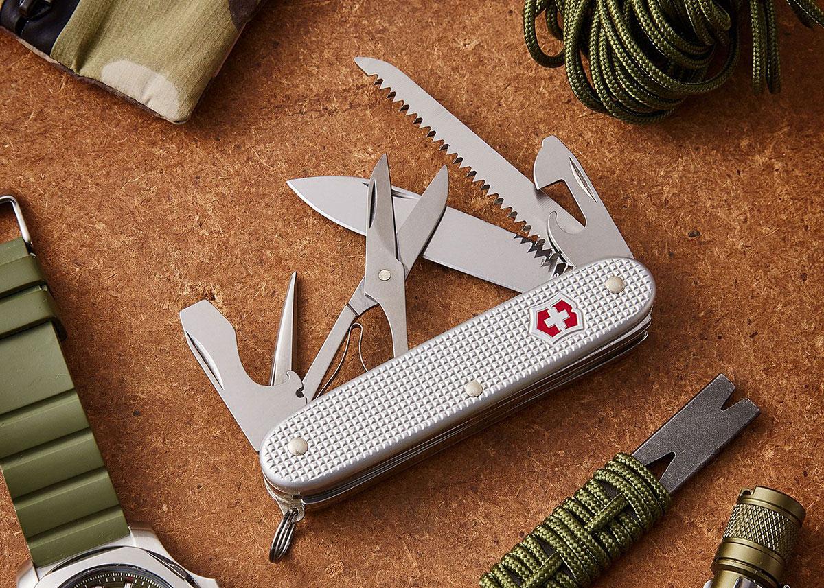 Victorinox Farmer X Swiss Army Knife on wood background