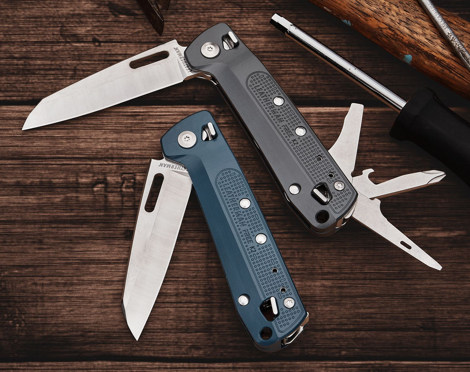 Leatherman FREE K2 tools partially unfolded on table