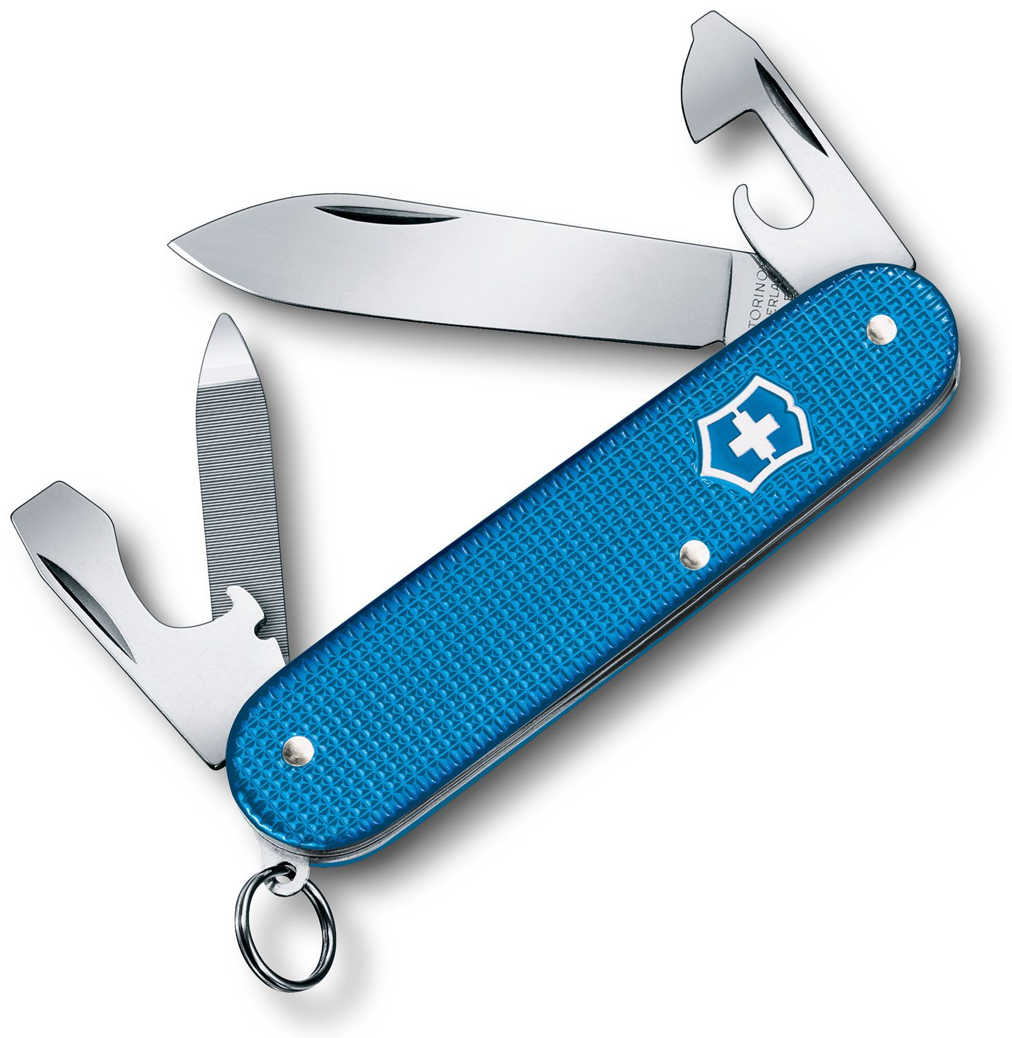 Victorinox Cadet partially unfolded, blue, on white background