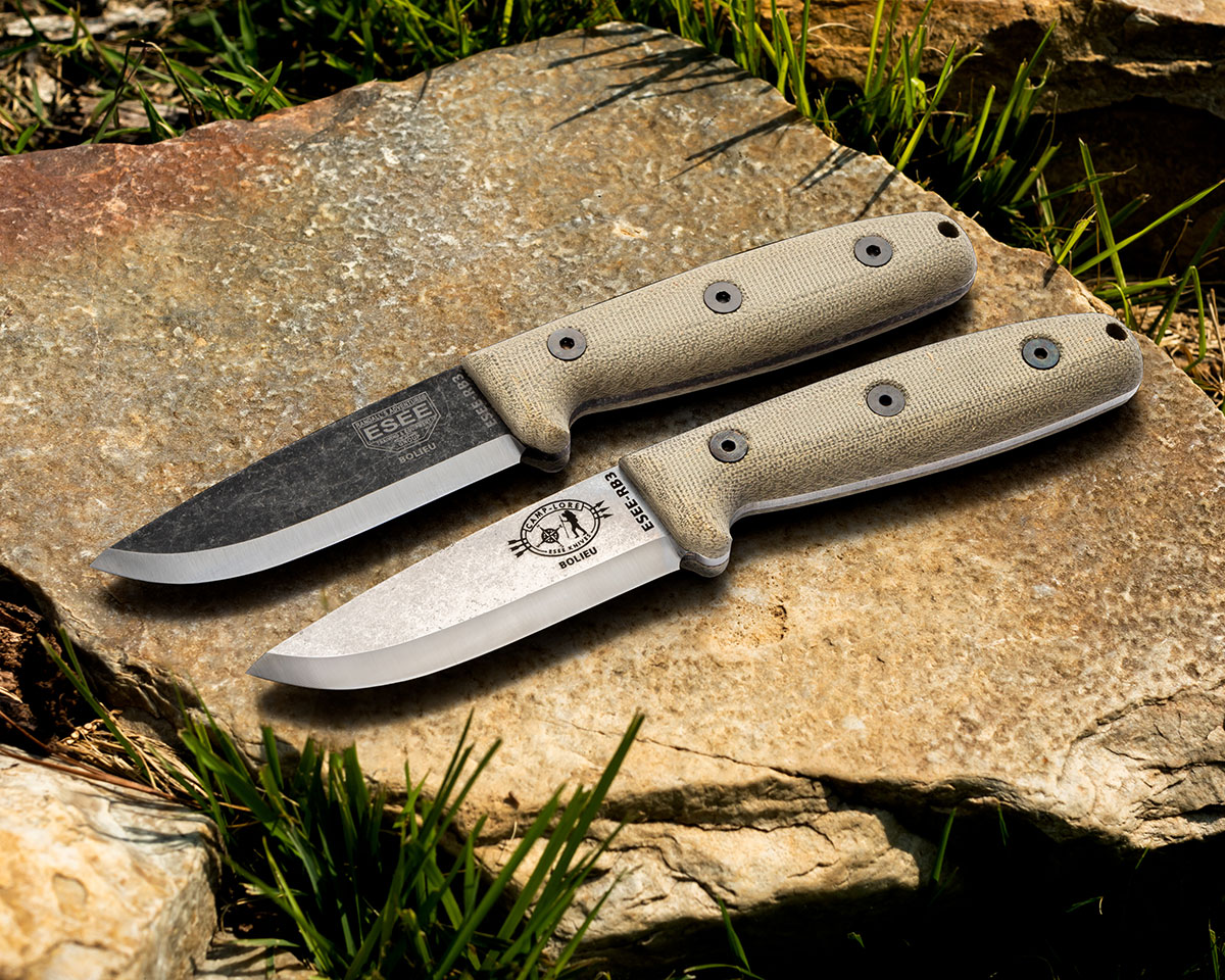 Two ESEE RB3 knives in stonewash and black oxide wash finishes