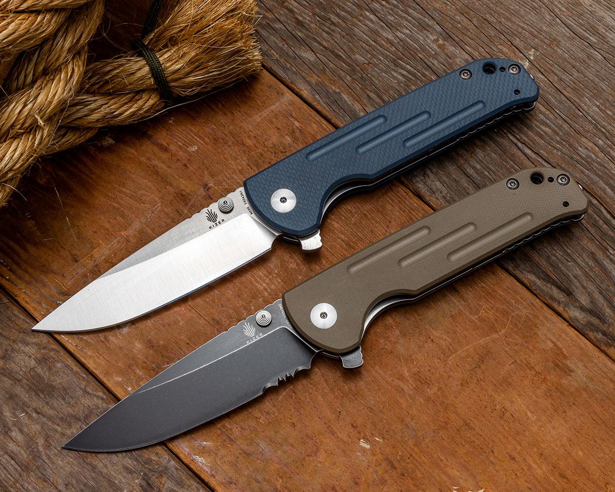 Blue G10 Satin Blade and Tan G10 Black Stonewashed Blade Kizer Vanguard Justice Knives