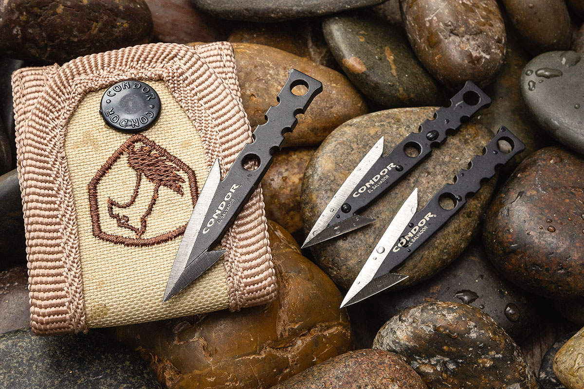 Condor Pocket Pike Spear Heads, Set of 3 with carry pouch on river rocks