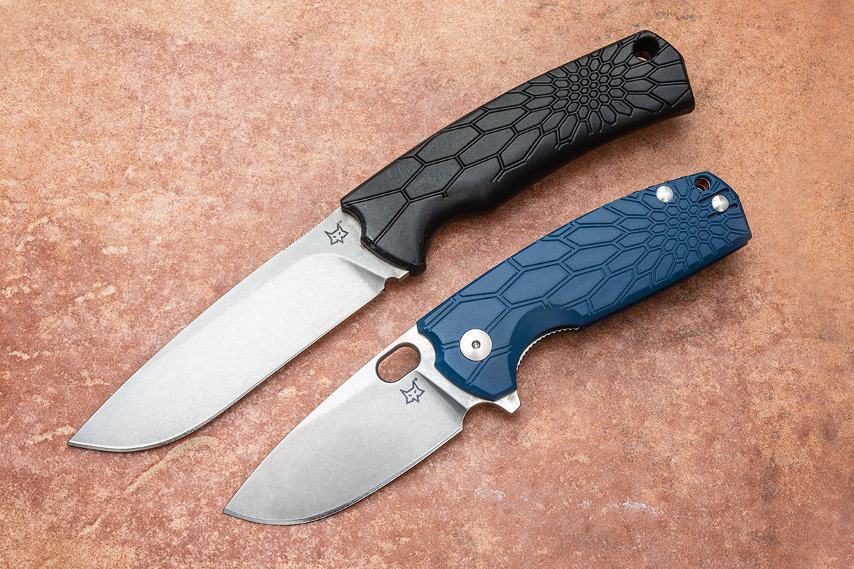 Fox Core Drop Point Fixed Blade with black handle and Core Folding Knife with blue handle