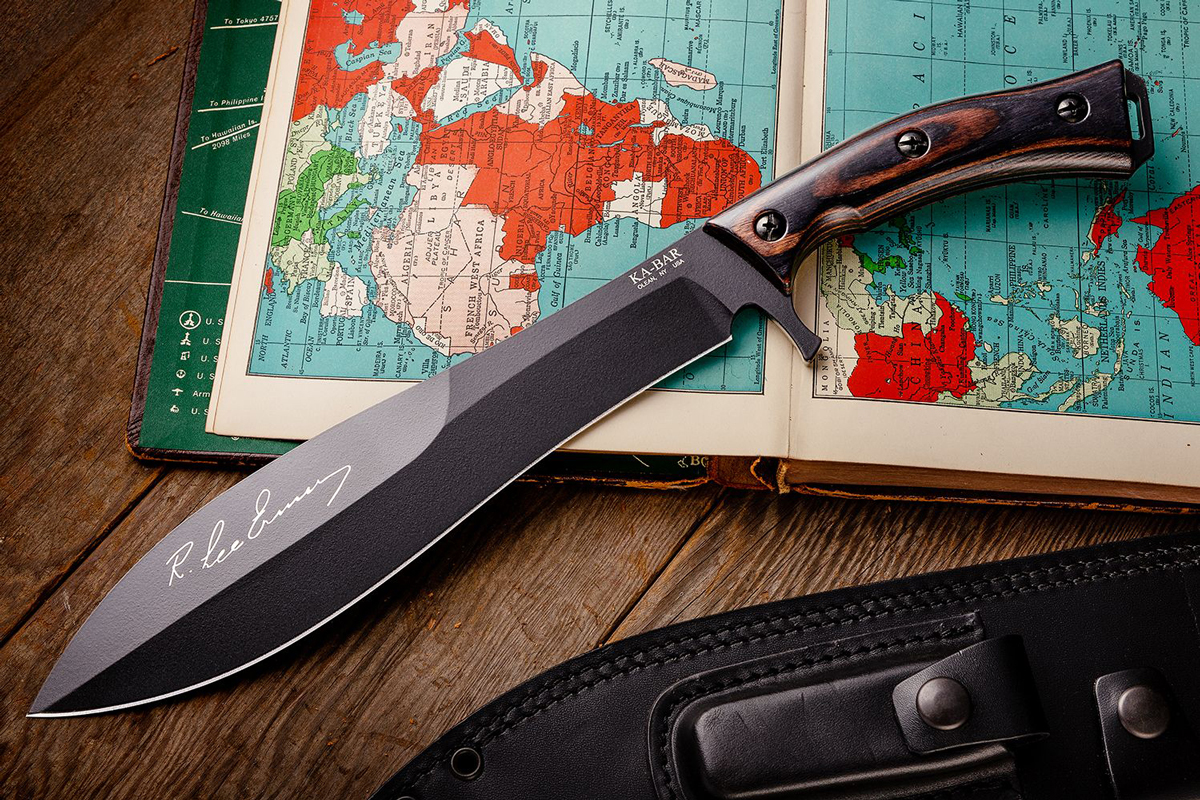 KA-BAR R. Lee Ermy fixed blade sitting on world map