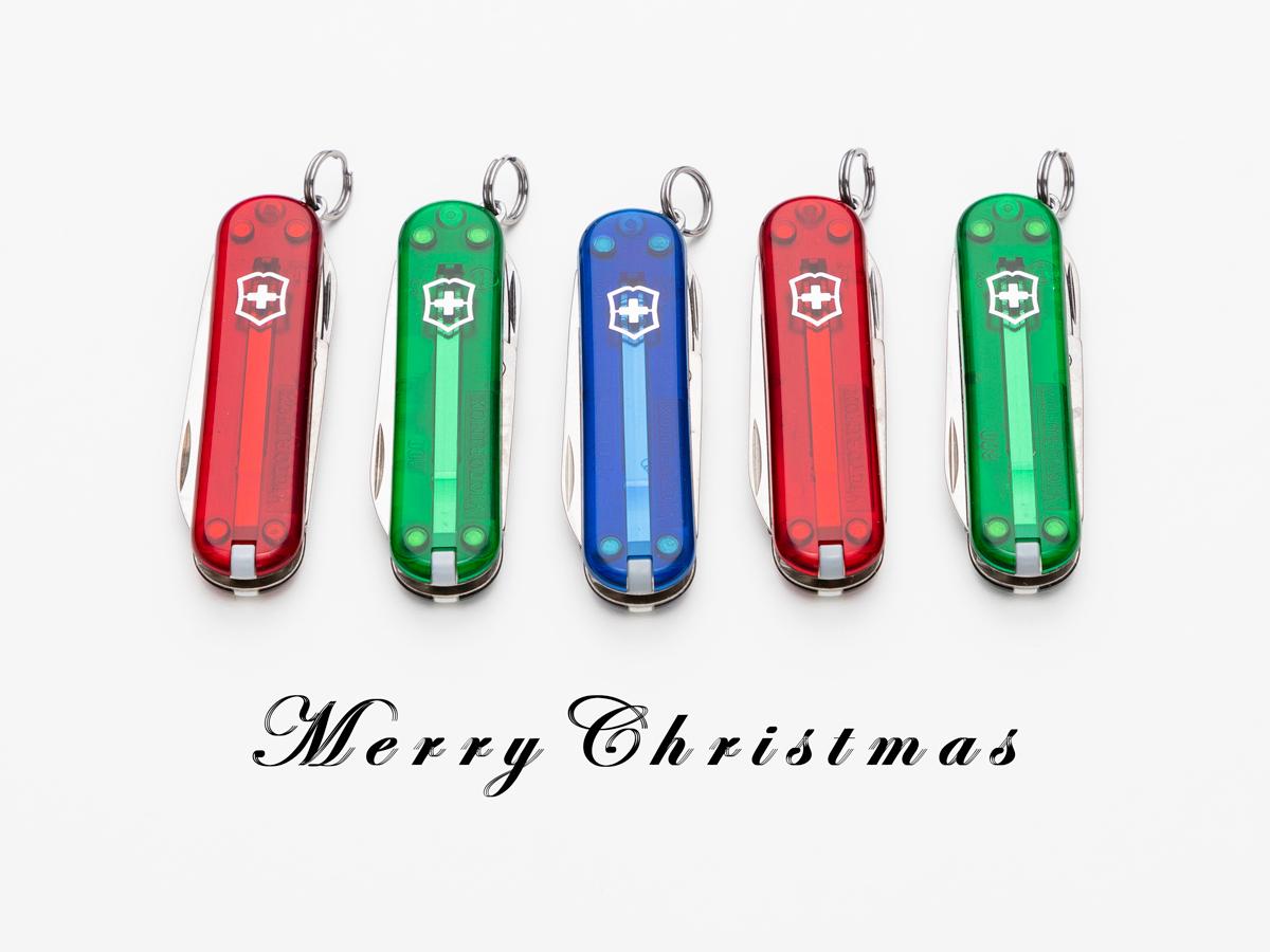 Victorinox Classic Translucent arranged to look like Christmas lights