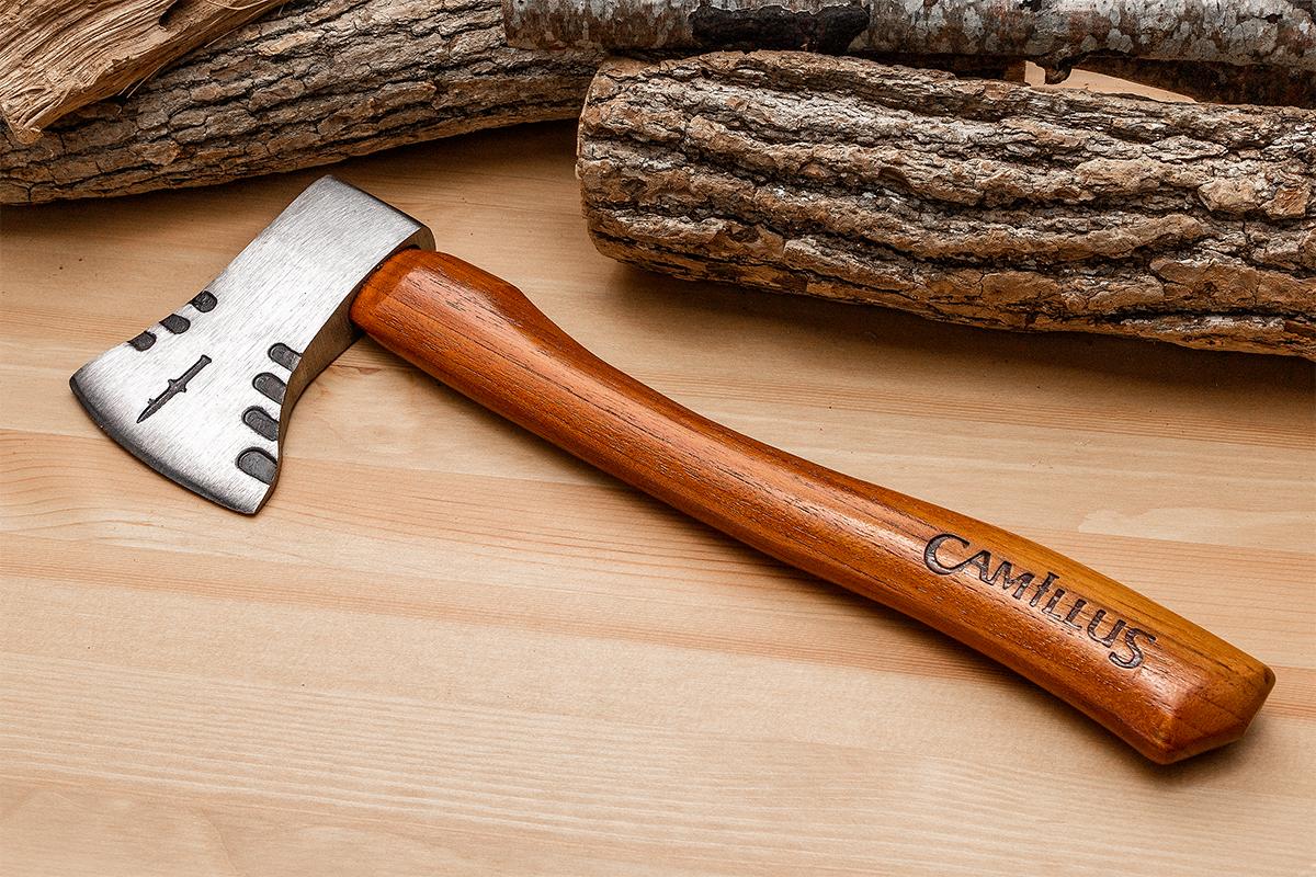 Camillus Teca Hatchet next to cut logs