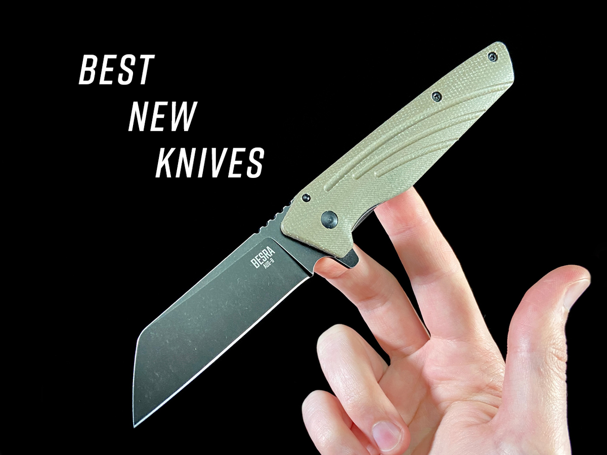 BEST NEW KNIVES with Ontario Besra balanced on fingertips, black background