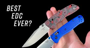 Benchmade Bugout and Hogue Deka folding knives in hand side-by-side
