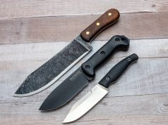 Condor Hudson Bay, Becker BK2, and Kershaw Camp 5 on a wood surface